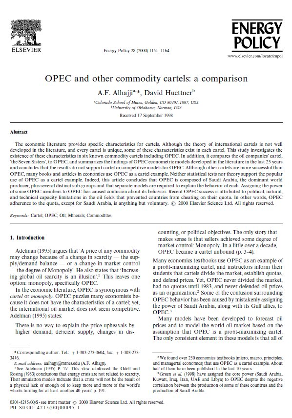 term paper on opec Paper if authors regard it as essential to indicate that two or more co-authors   offer a top-quality original research platform for publishing on energy issues in.
