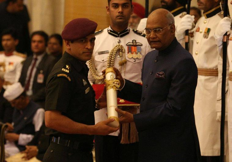 MS Dhoni receives Padma Bhushan Award