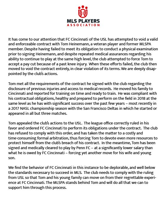Mlspa On Twitter We Are Extremely Disappointed In Fc Cincinnatis