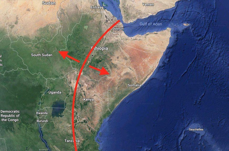 Prediksi retakan yang akan membelah afrika