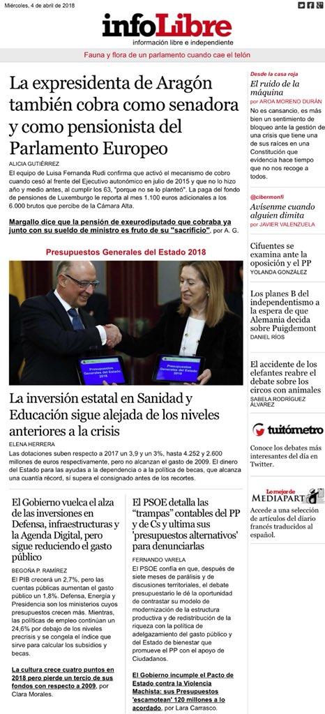 Portada De At Infolibre La Ex Presidenta De Aragón También Cobra