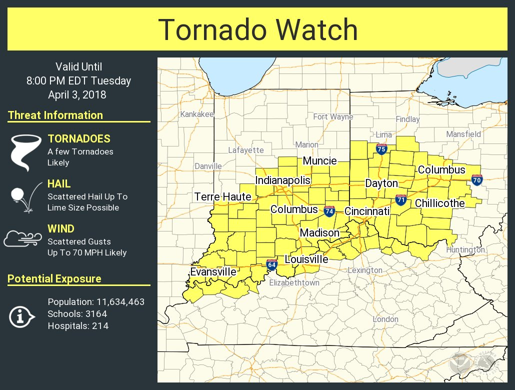 Nws Eastern Region On Twitter A Tornado Watch Has Been