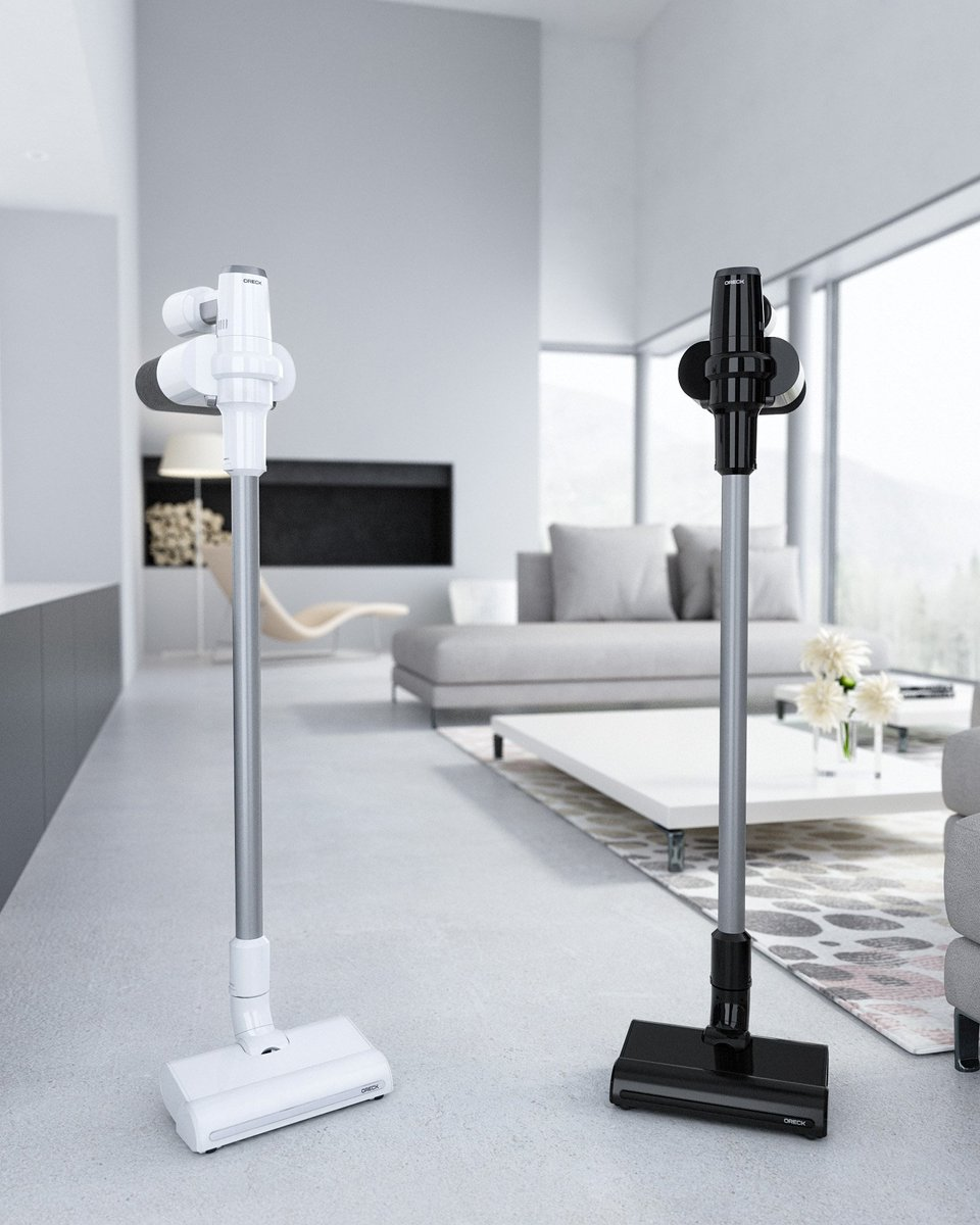 Sleek, lightweight and versatile– Oreck's first cordless vacuum stands out. Learn more about the customized cleaning tools, attachments, storage solution,  and innovative POD disposal technology at https://t.co/WOv99fCQgL. Available in black and white. https://t.co/MXBAnAYAOr