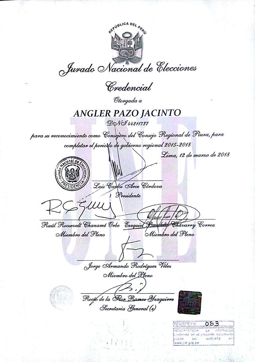 993047d36  Piura Jurado Nacional de Elecciones entregó credencial a nuevo consejero  por Sechura