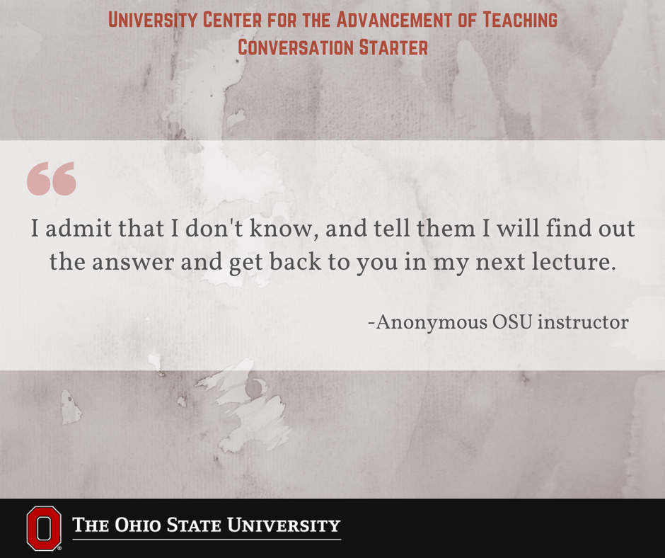 What are some strategies you use when you do not know how to answer a student's question during class? #UCATconvo