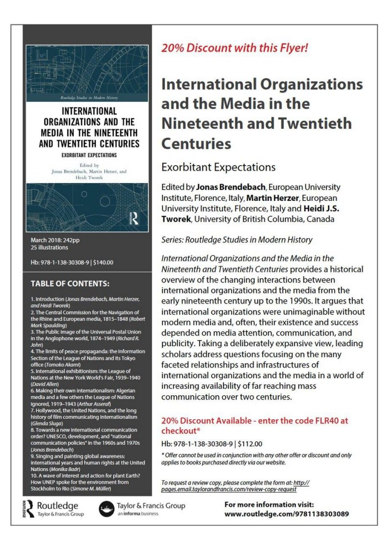 A historic take on the interactions between International Organisations and  the media. An essay collection I co-edited with  HeidiTworek and  M Herzer. d67a98c685d69