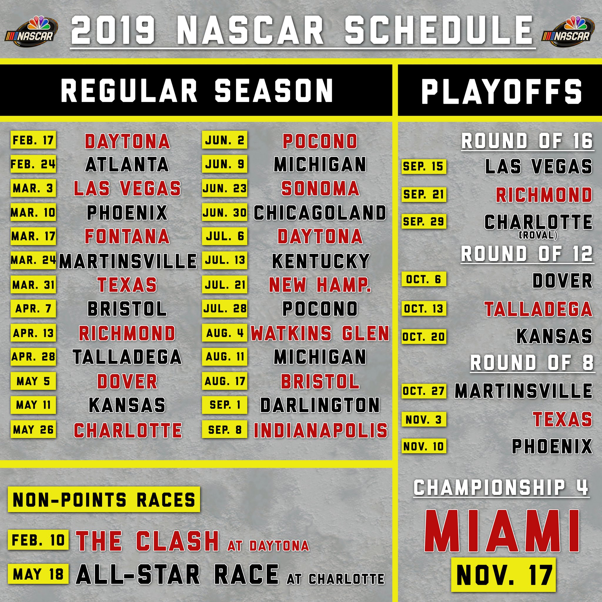 It is a picture of Ridiculous Printable Nascar Schedule