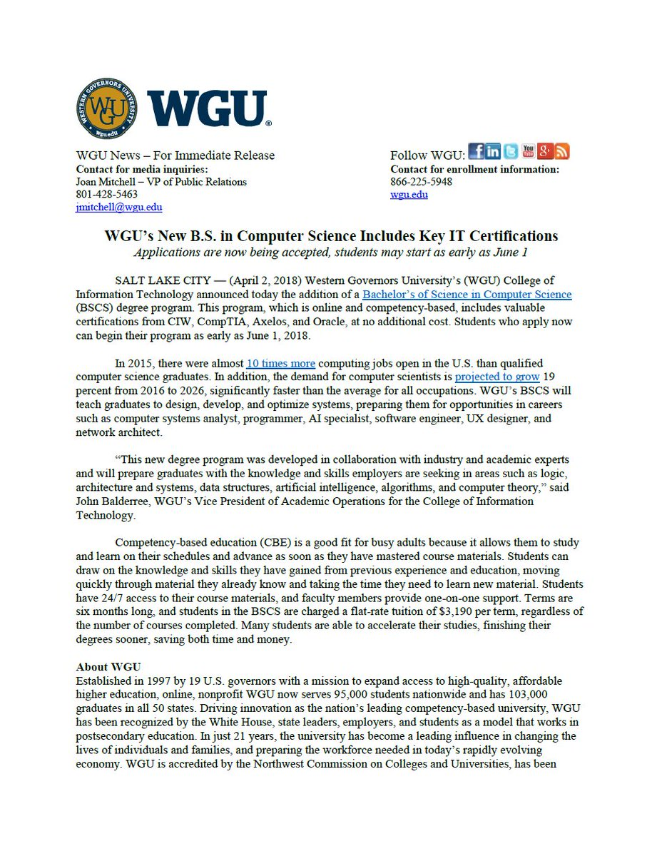 Western Governors U On Twitter Wgus College Of It Announced The