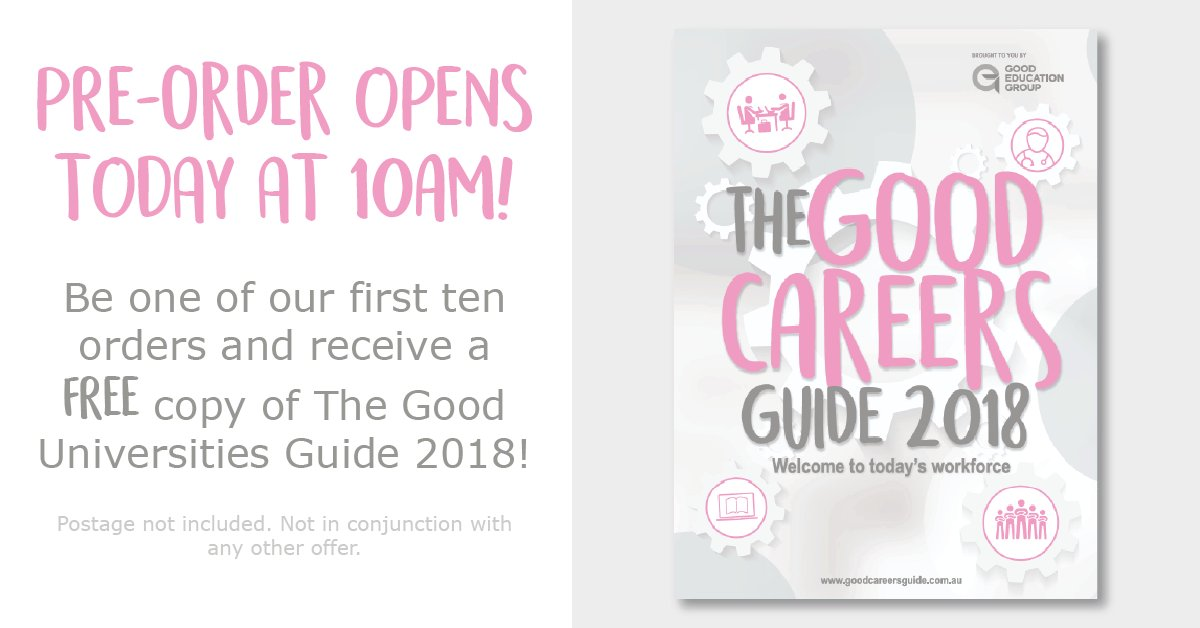 test Twitter Media - The day is here! The Good Careers Guide 2018 pre-order opens this morning at 10am aest 😍  Be one of our first 10 orders and you'll also receive a free copy of The @GoodUniGuide 2018!  You can place your pre-orders on the Good Education Bookshop https://t.co/ytUReb4oTb https://t.co/BpHUZsTOdG