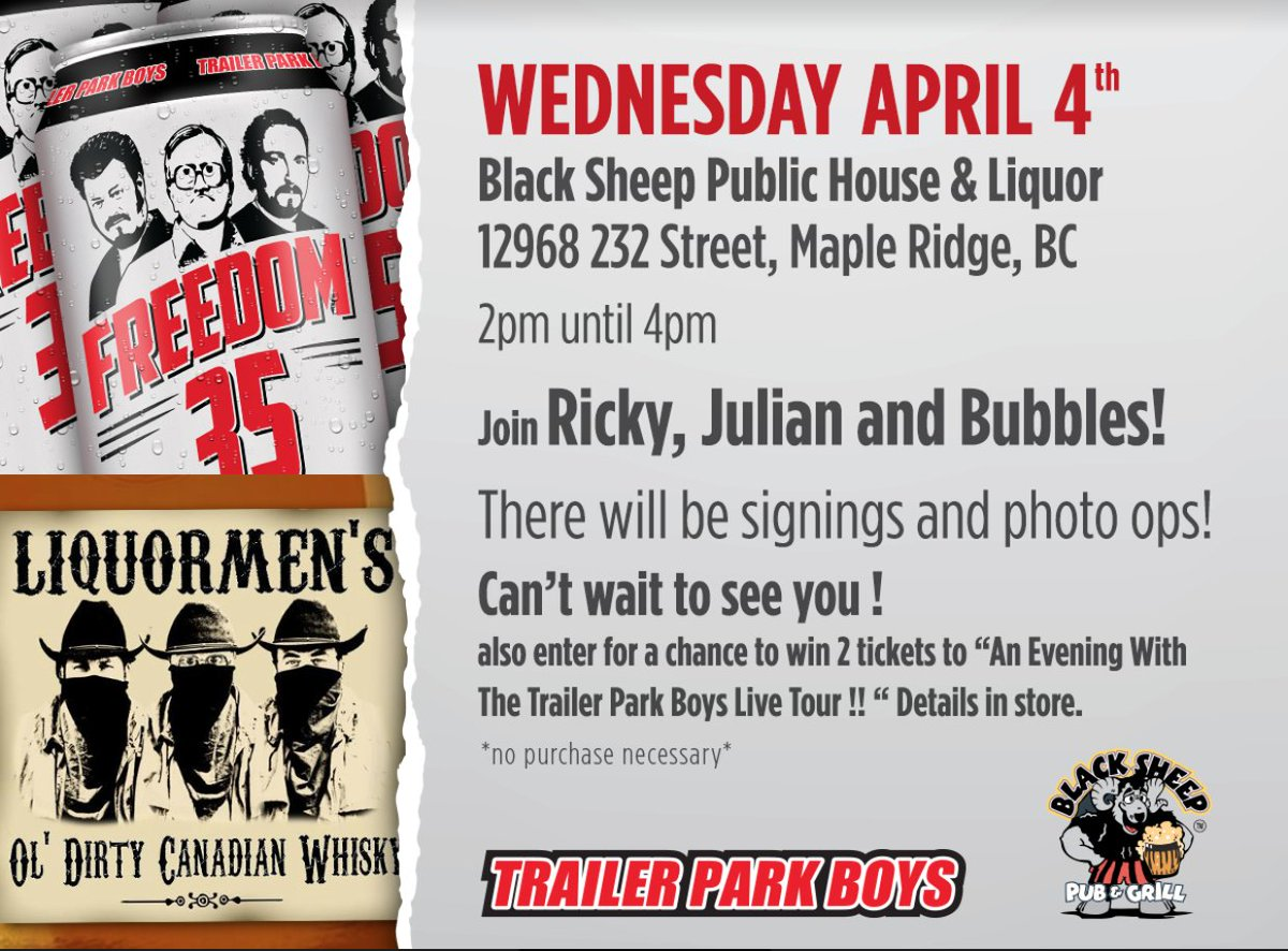 Trailer park boys on twitter maple ridge bc come and meet us at trailer park boys on twitter maple ridge bc come and meet us at the black sheep public house on wednesday april 4 from 2 4pm kristyandbryce Gallery