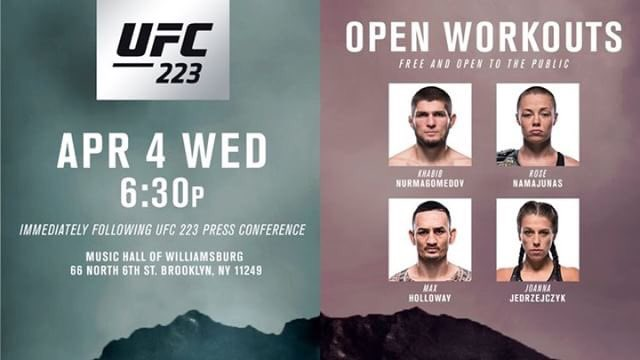 You are all more them welcome to see the open workouts before #UFC223 ❤️ @ufc