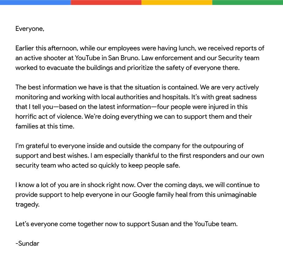 Here is the note that @sundarpichai just sent to Googlers worldwide.