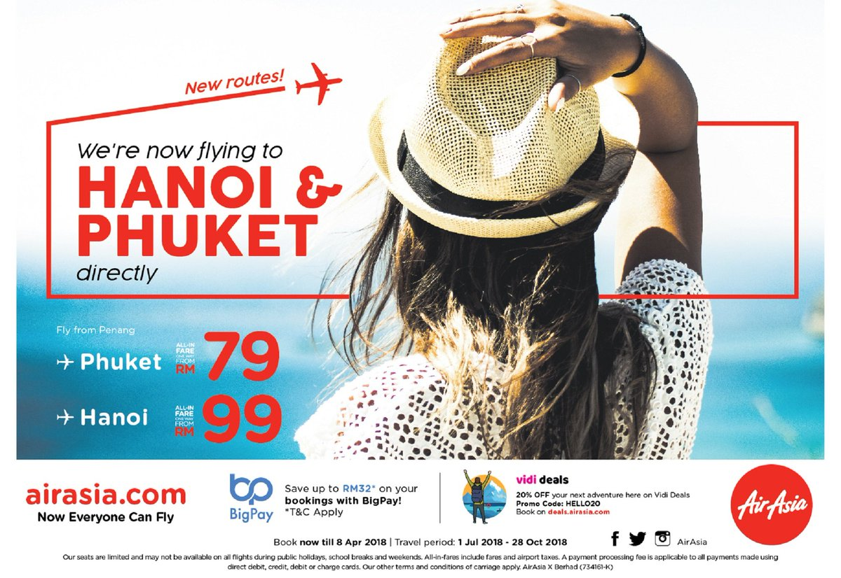 [Press Releass] #AirAsiaLaunches Direct Flights From #Penang to #Hanoi 🇻🇳 and #Phuket 🇹🇭