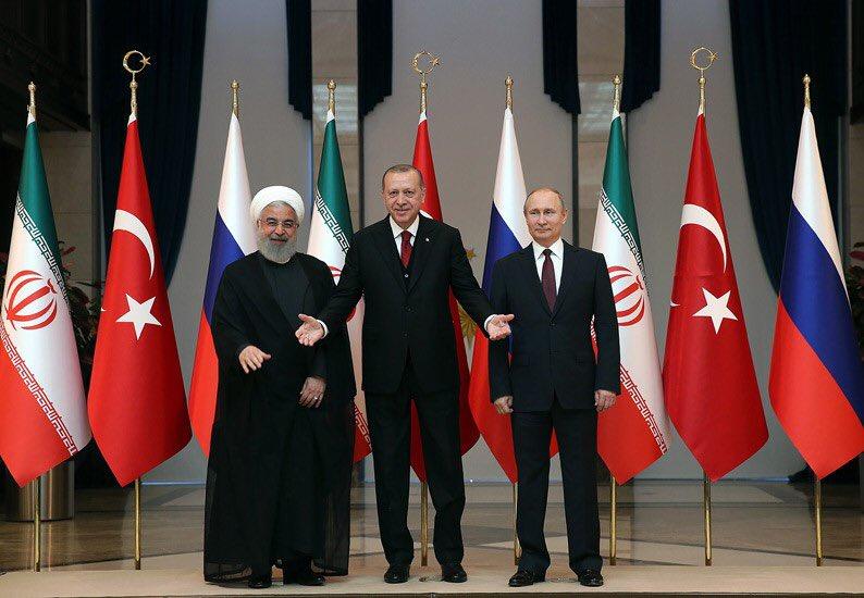 В президентском дворце прошел трехсторонний саммит Турция - Россия - Иран
