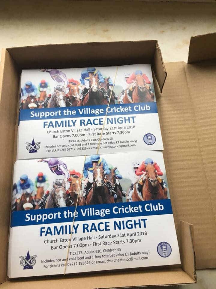 On 21st April is our club's annual race night @ Church Eaton Village Hall. This year we are looking to raise money to invest in a new mower and equipment for both junior and senior member. If you are interested please ring 07712 193829 or email churcheatoncc@mail.com