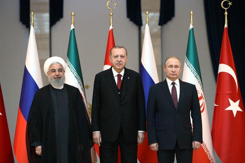 Türkiye-Rusya-İran üçlü zirvesi Cumhurbaşkanlığı Külliyesinde toplandı tccb.gov.tr/haberler/410/9…