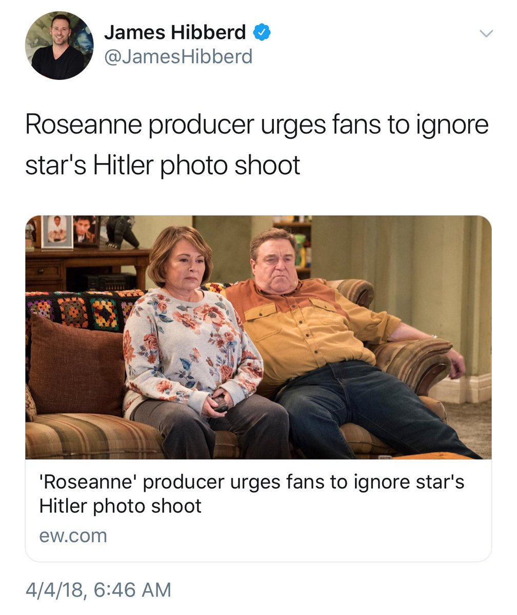 The producer of ABC's Roseanne would like us to ignore her Hitler photoshoot so here it is again because I absolutely will not