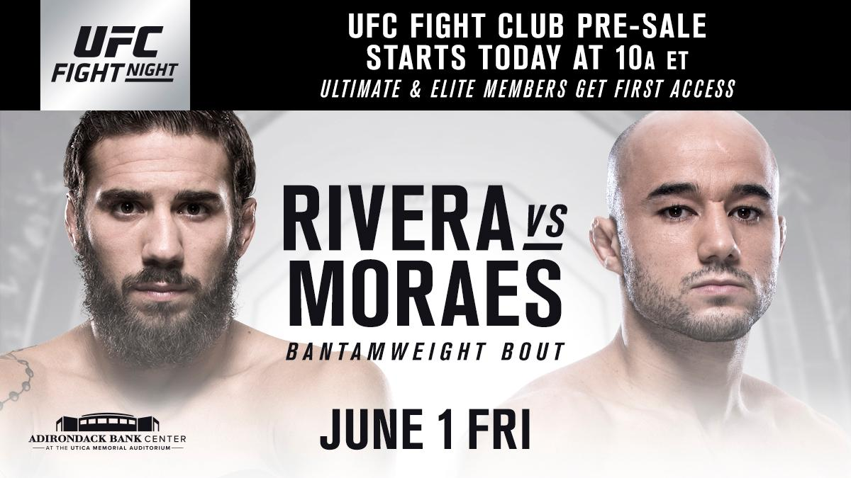 Get your seats at #UFCUtica before anyone else. The @UFC Fight Club pre-sale is LIVE. 🎟 bit.ly/2q4PCuC