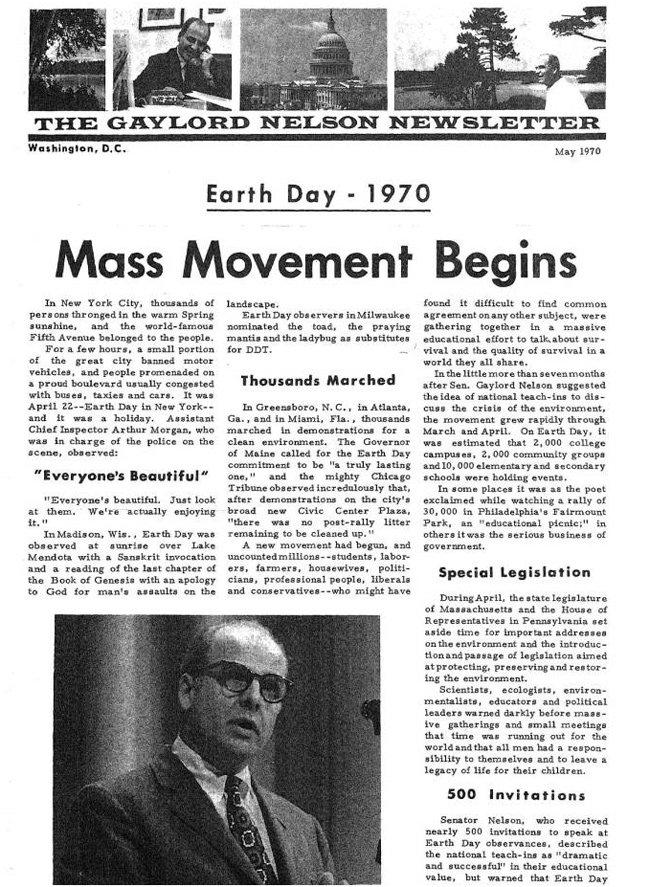 #OTD in 1970, Wisconsin senator Gaylord Nelson helped organize the first #EarthDay https://t.co/K4XmISNTJ8