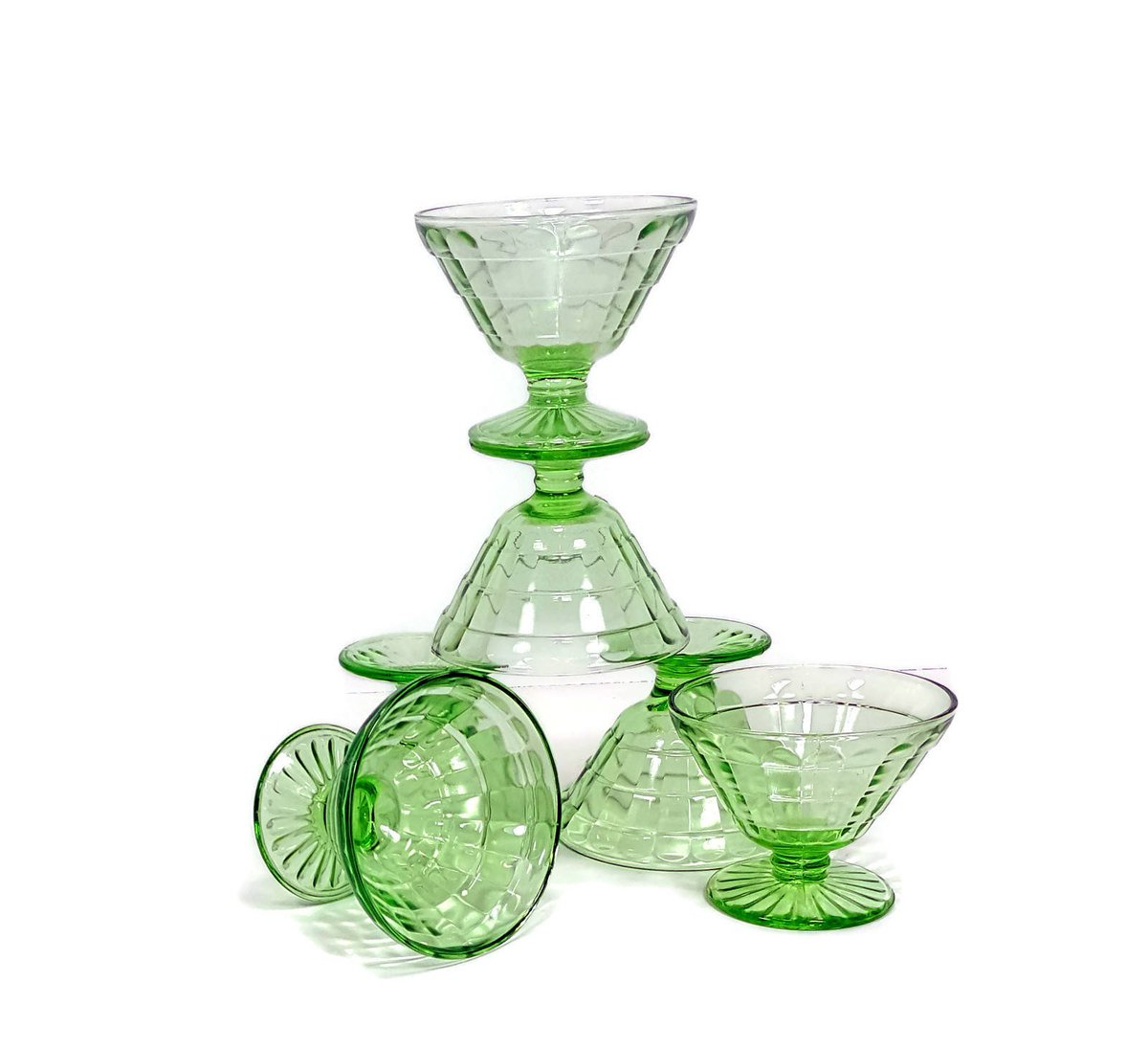 469b5bc0fda6 GREEN DEPRESSION GLASS Block Optic Dessert Dishes Set of 6 Footed Vaseline  Green Glass Dishes Hostess Gift Mothers Day Gift https   etsy.me 2p8eSzZ   kitsch ...