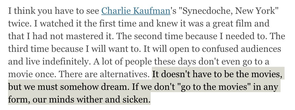 Re-reading all the favorites. This is Roger Ebert on SYNECDOCHE, NEW YORK.