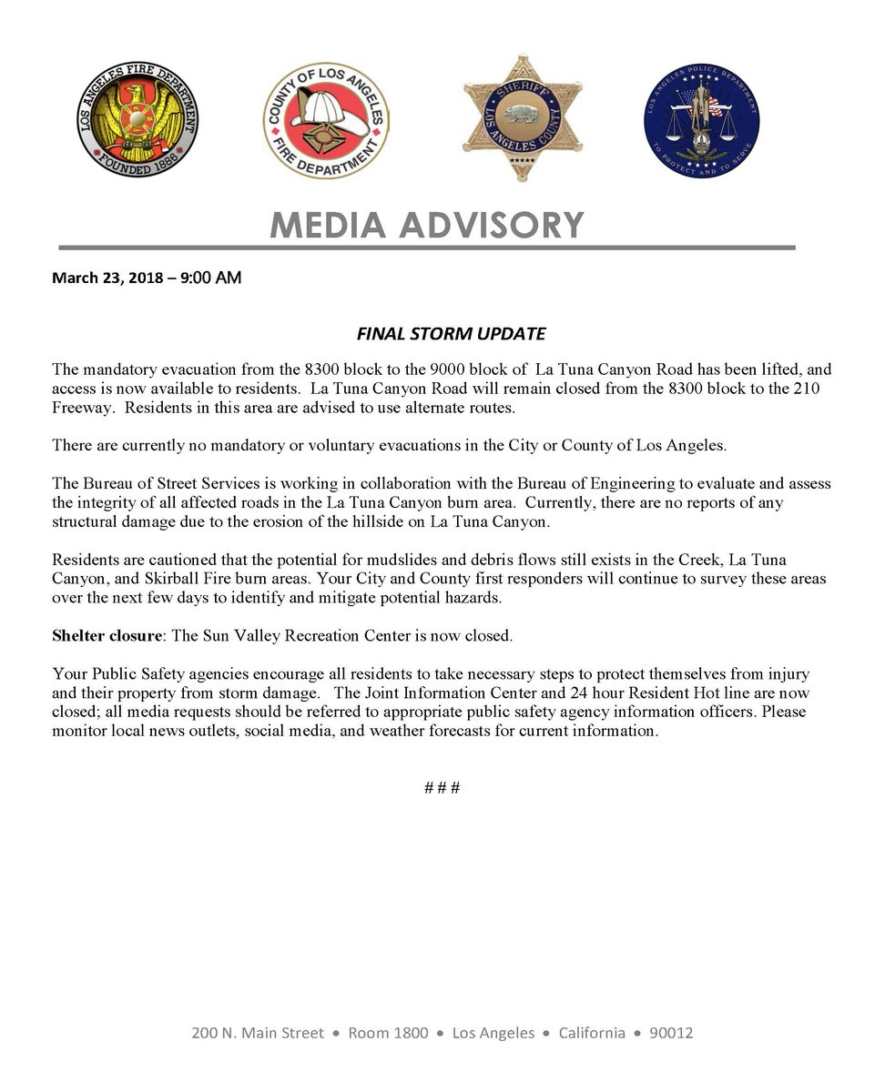 La City Emd On Twitter The Final Media Advisory For This Weeks