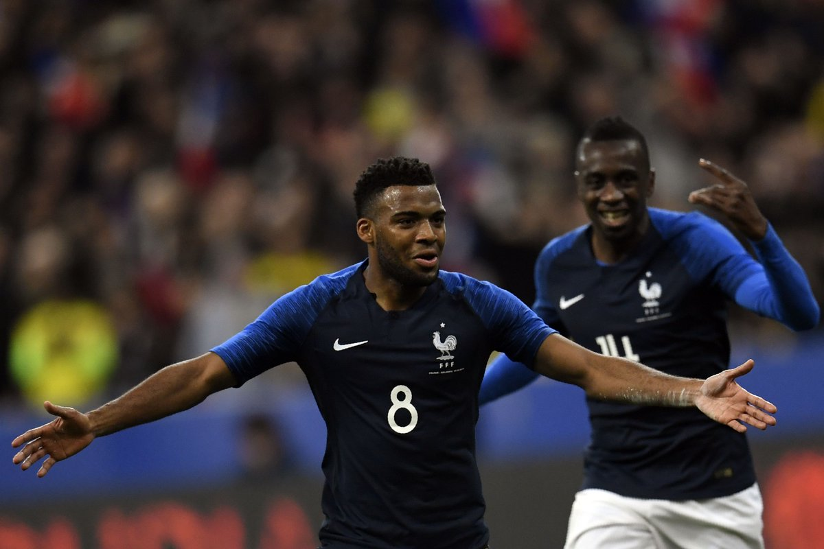 Thomas Lemar celebrates France's second goal of the evening.  They lead Colombia 2-1.
