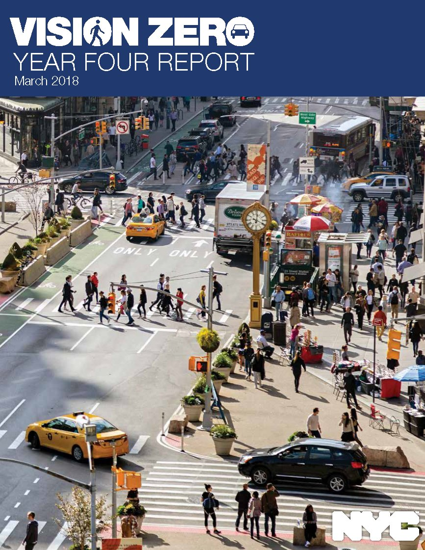Today New York City released the #VisionZero Year 4 Report. The report outlines how city agencies use data-driven solutions, engineering, enforcement & engagement to strive towards the goals of Vision Zero. It also outlines upcoming initiatives: https://t.co/Ja2WhF5Jxg