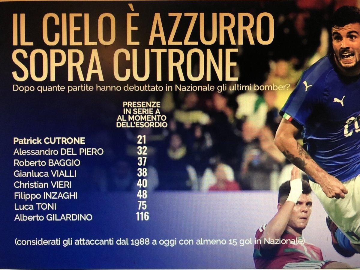 """Patrick Cutrone est le """"bomber"""" qui débute en sélection italienne avec le moins de matches en Serie A. Interessante statistique de .@MilanTV"""