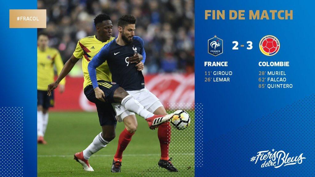 La #France battue par la #Colombie en ma...
