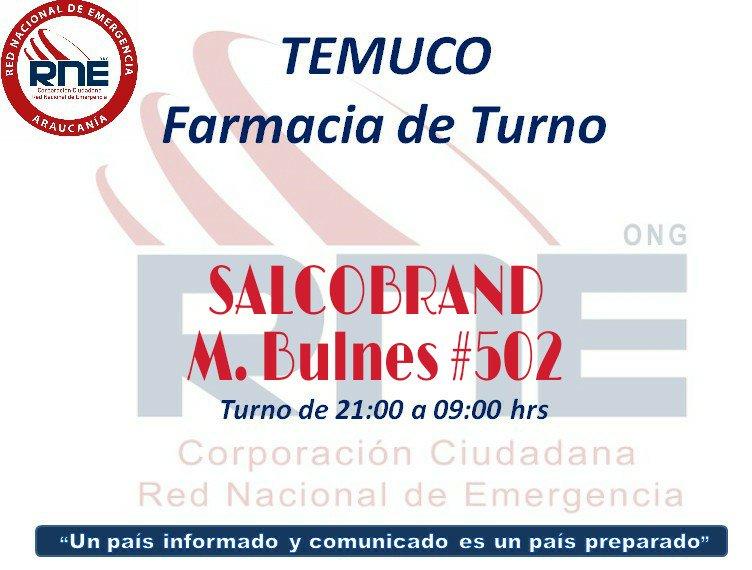 vía @RNEAraucania #TEMUCO #FarmaciaDeTurno para esta noche SALCOBRAND de Bulnes #502 @RNEAraucania @monona2pilar @BellaaFarfalla #TodosSomosRNE