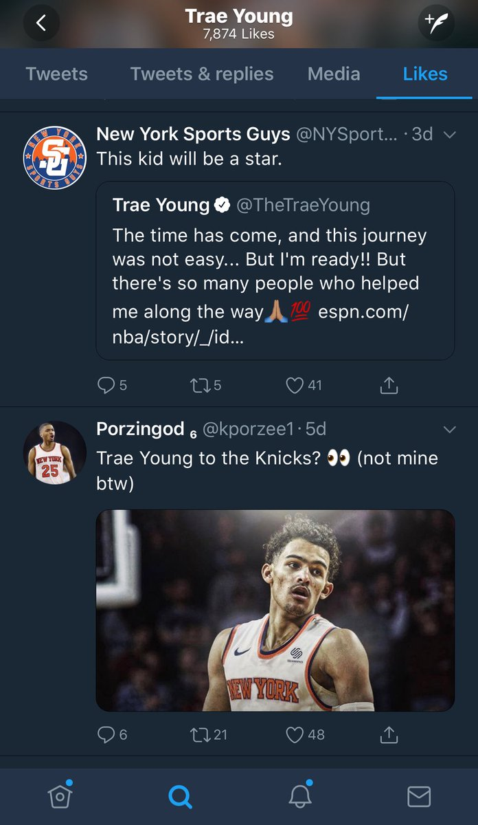 Trae Young liking some tweets 👀