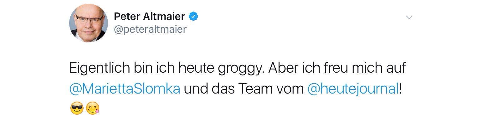 Peter Altmaier: Eigentlich bin ich heute Groggy. Aber ich freu mich auf Marietta Slomka und das Team vom heute journal.