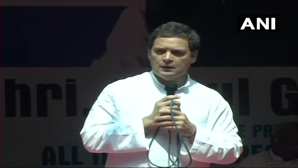 We are growing pretty decently as an economy but we are not creating jobs, it is because those who have skills don't have access to finance and support. The problem is, huge amount of money goes to 15-20 people: Rahul Gandhi in Mysuru, Karnataka (ANI)