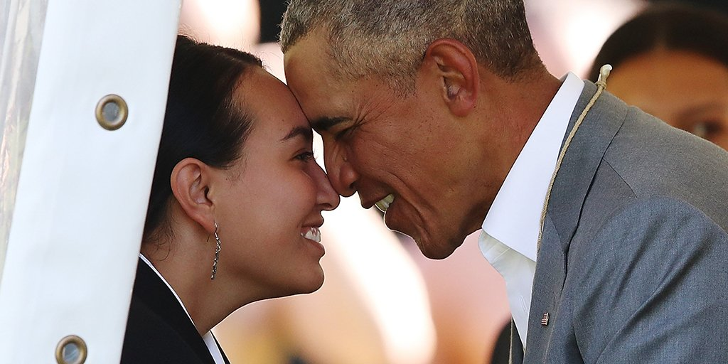 Barack Obama receives a traditional Maori welcome at Government House in Auckland, New Zealand. The former US president is on his first visit to the country. See more of our pictures of the week: https://t.co/8jbQD0XrCh