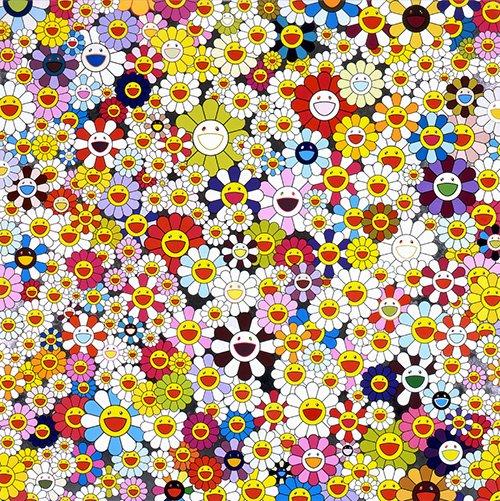 Takashi Murakami, Flowers,  2010, acryli...