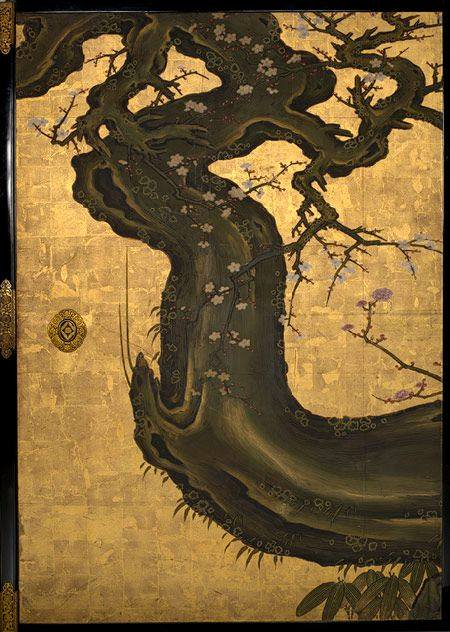 'The Old Plum' (detail ) by Kano Sansets...
