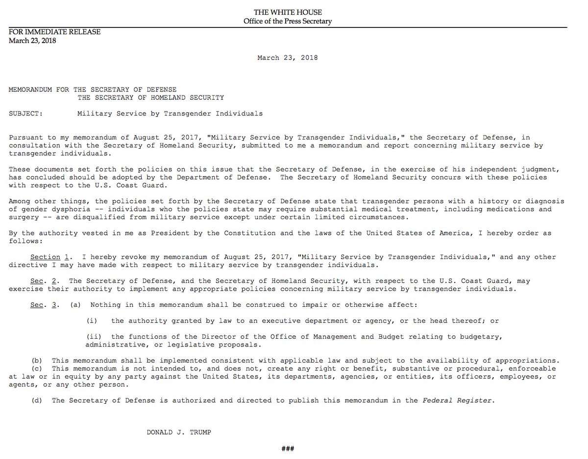 JUST IN: President Trump issues memorandum stating transgender individuals are 'disqualified' from serving in the military 'except under certain limited circumstances.' https://t.co/n7TqA3E2wo