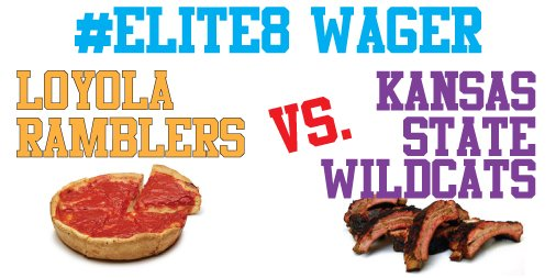 Ramblers in the #Elite8! Hey @opcares @MayorGerlach, if your Wildcats win, we'll send Chicago pizza from @jbalbertospizza and give to a charity of your choice. When the @RamblersMBB win, we'd love Kansas City BBQ and a contribution to #BAM @YG_Chicago. Are you in? #MarchMadness