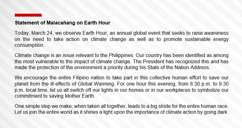 Cnn Philippines On Twitter Read Statement Of Malacaang On Earth