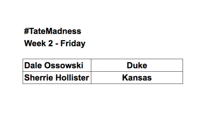 #TateMadness  There were 2 going into today, and there are still 2…  Both advance… @happyholly81 won with Kansas and @Chanski57 won with Duke  Who will they take tomorrow?