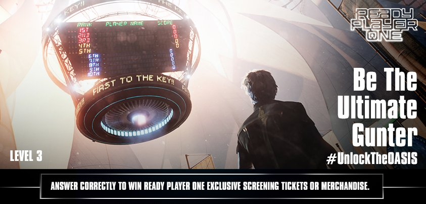 #ContestAlert – #GuntersUnite! It's time for the final level and your last chance to #UnlockTheOASIS! Participate in our Facebook Live Contest at 5PM and make sure you top the scoreboard to win exclusive screening tickets or Ready Player One Merchandise!