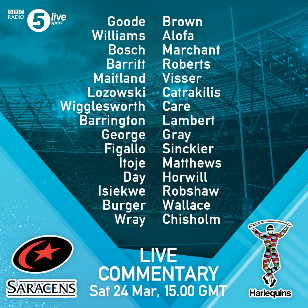 🏉 TEAM NEWS 🏉  Internationals George, Itoje, Wigglesworth and Maitland start for @Saracens.  Brown, Sinckler, Care, Brown and Gray all return for @Harlequins.  Commentary from 3pm with @chjones9, @Will_Fraser9 and @rorylawson9.  🏉 https://t.co/NI1sjtGRxI