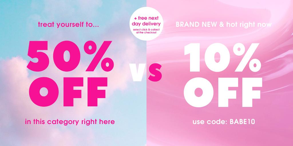 ATTENTION BABES 💥💥💥 New lines + a bigger discount has been added! This is the hardest decision you'll make all day... Take 50% off literally 1,000's OR take 10% off everything from 'new in' 🙌 https://t.co/iF7WX1oGmh