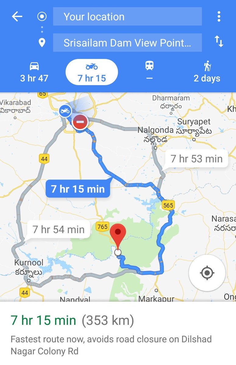 Sk on twitter hyderabad to srisailam route on google map for two hyderabad to srisailam route on google map for two wheelers why do we have to take a long route is the route closed for two wheelers altavistaventures Gallery
