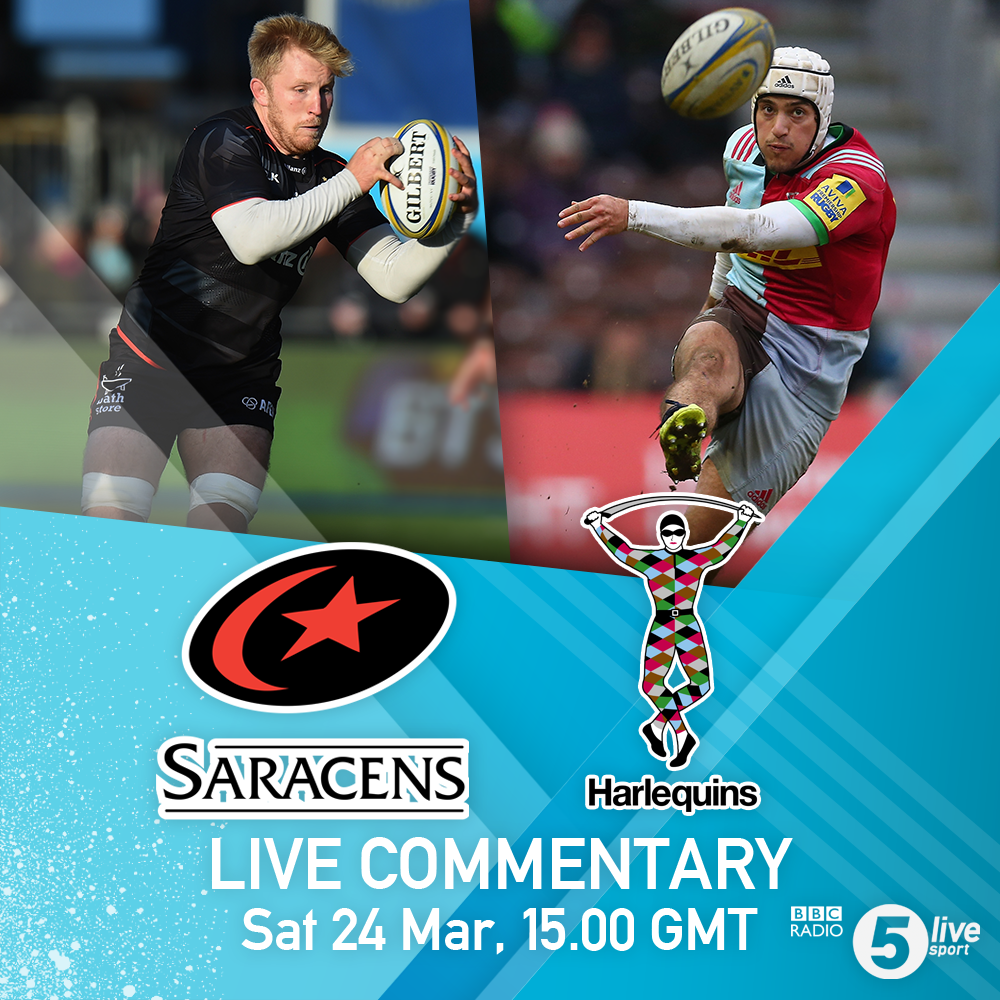 It's a a sell-out crowd at the London Stadium for @Saracens against @Harlequins.  @chjones9, @rorylawson9 and @Will_Fraser89 have commentary from 3pm.  📻 https://t.co/NI1sjtGRxI