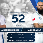 50 UP! Brilliant batting from @AidzMarkram and @amlahash, they've just brought up their 50 partnership. Their last 50 partnership as a pair was in Centurion with 63, can they go on and surpass that? #ProteaFire