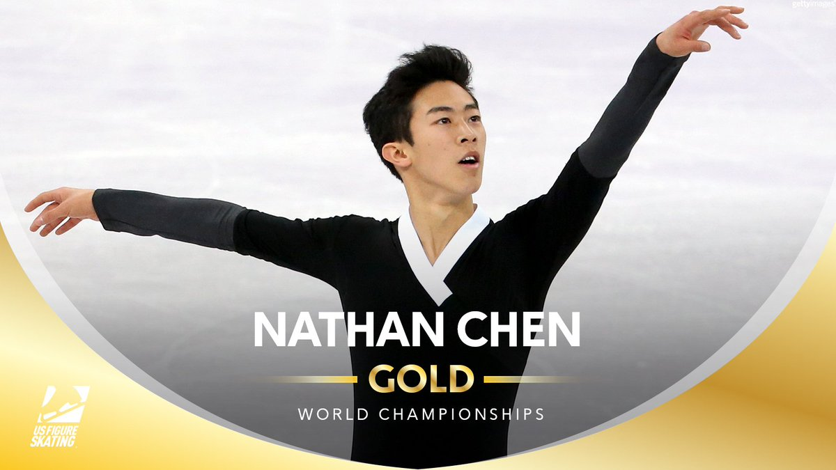 WORLD!!!! CHAMPION!!!!!!! 👑  @nathanwchen wins his first #WorldFigure title with new PERSONAL BESTS 219.46 FS, 321.40 total.