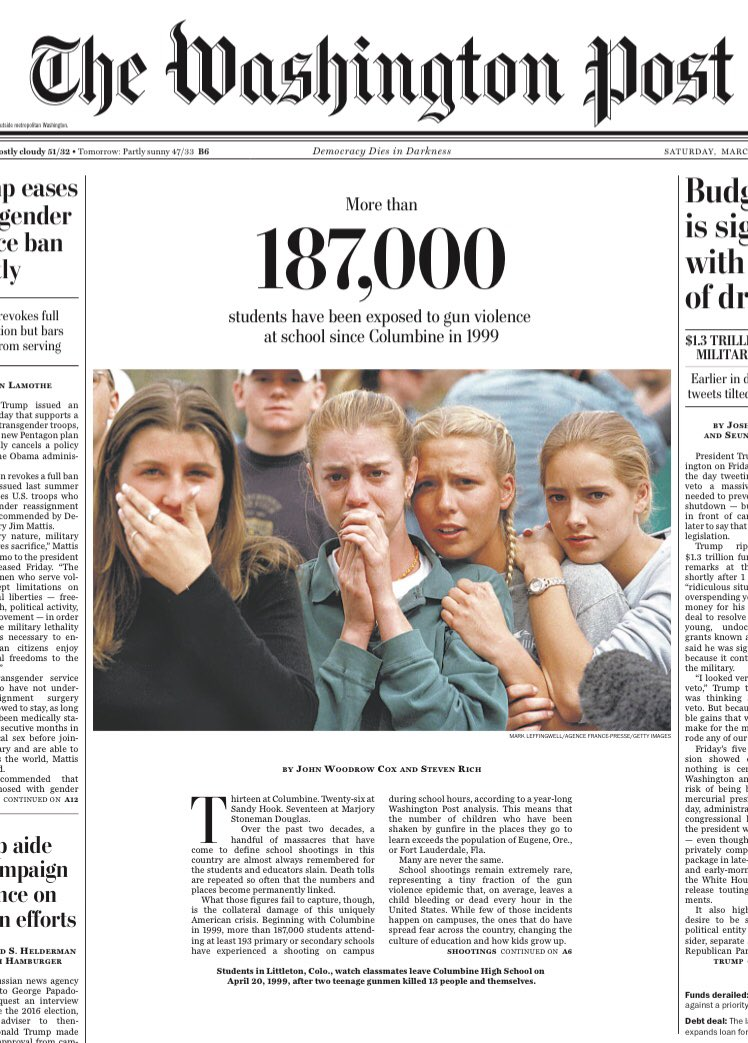On the day that the #MarchForOurLives comes to the nation's capital, this is the front page of the @washingtonpost. Our story: https://t.co/R3T1t0Pcj8