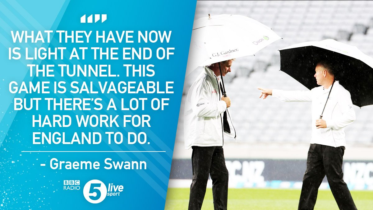 'This game is salvageable.'  @Swannyg66 says the weather has given England an opportunity to avoid defeat in the opening test against New Zealand.  📻 https://t.co/NI1sjtGRxI